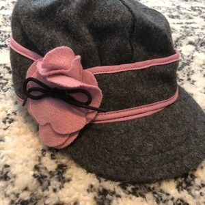 Grey Pink Women's stormy kromer hat with flower